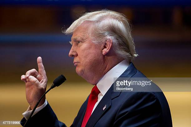 Donald Trump president and chief executive of Trump Organization Inc speaks while announcing he will seek the 2016 Republican presidential nomination...
