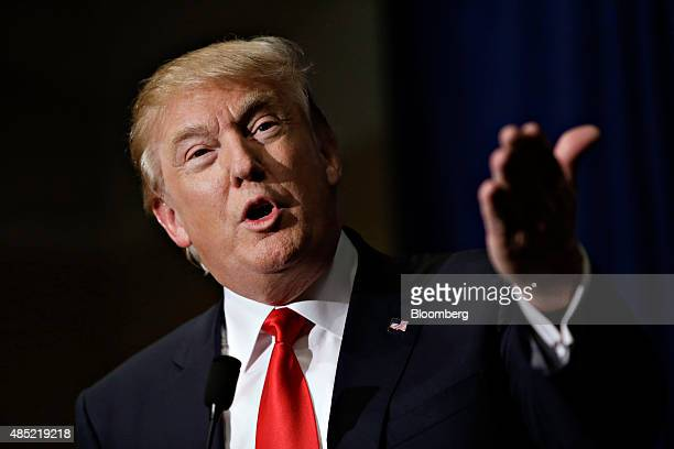 Donald Trump president and chief executive of Trump Organization Inc and 2016 Republican presidential candidate speaks during a news conference ahead...