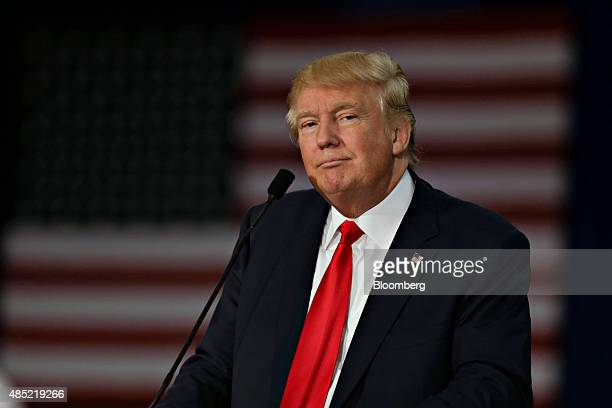 Donald Trump president and chief executive of Trump Organization Inc and 2016 Republican presidential candidate speaks during a rally at Grand River...