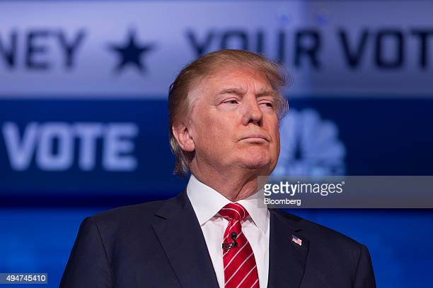 Donald Trump president and chief executive of Trump Organization Inc and 2016 Republican presidential candidate stands on stage at the start of the...