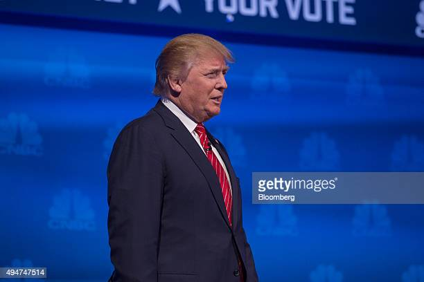 Donald Trump president and chief executive of Trump Organization Inc and 2016 Republican presidential candidate walks on stage during the Republican...