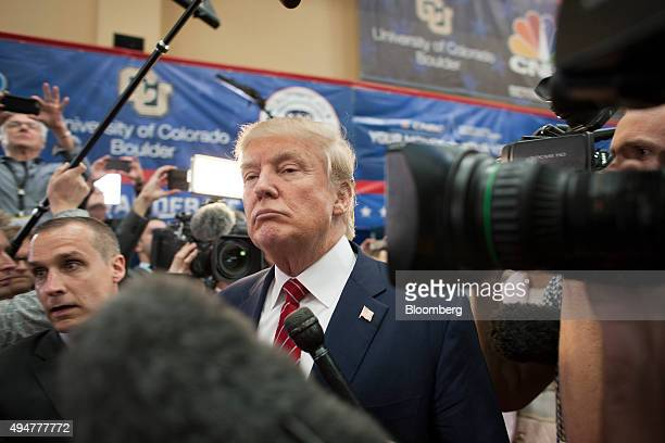 Donald Trump president and chief executive of Trump Organization Inc and 2016 Republican presidential candidate speaks with the media after the...