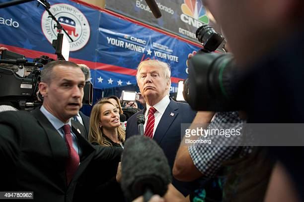 Donald Trump president and chief executive of Trump Organization Inc and 2016 Republican presidential candidate center speaks with the media after...