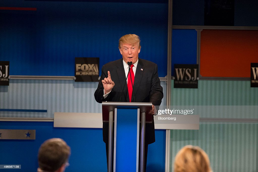 Donald Trump president and chief executive of Trump Organization Inc and 2016 Republican presidential candidate speaks during a presidential...