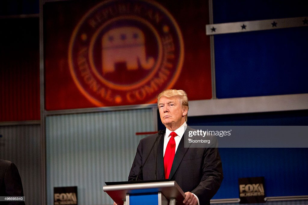 Donald Trump president and chief executive of Trump Organization Inc and 2016 Republican presidential candidate stands at his podium at the start of...