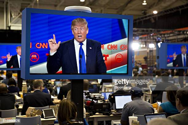 Donald Trump president and chief executive of Trump Organization Inc and 2016 Republican presidential candidate is seen speaking on a television...