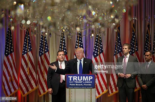 Donald Trump president and chief executive of Trump Organization Inc and 2016 Republican presidential candidate second left speaks on stage with...