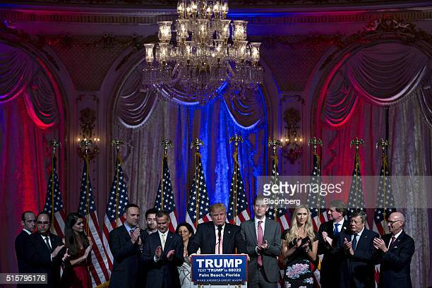 Donald Trump president and chief executive of Trump Organization Inc and 2016 Republican presidential candidate center pauses while speaking during a...