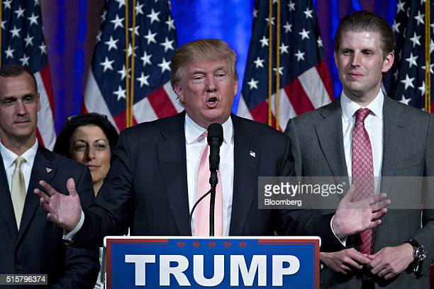 Donald Trump president and chief executive of Trump Organization Inc and 2016 Republican presidential candidate center speaks during a news...