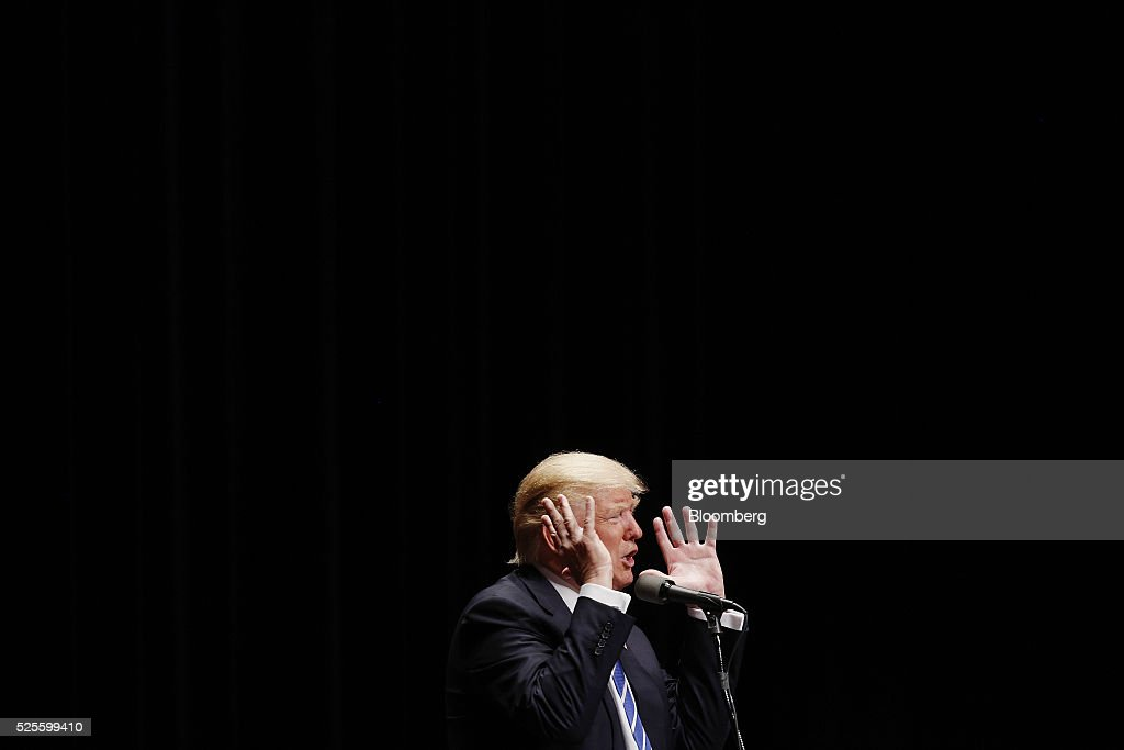 Donald Trump, president and chief executive of Trump Organization Inc. and 2016 Republican presidential candidate, speaks during a campaign event in Evansville, Indiana, U.S., on Thursday, April 28, 2016. Trump said he's campaigning hard to win Tuesday's presidential primary in Indiana and that if he prevails, his party's nomination contest will be 'over.' Photographer: Luke Sharrett/Bloomberg via Getty Images
