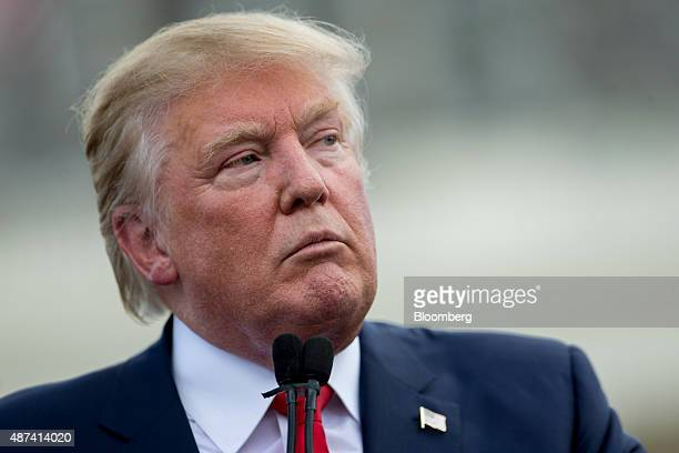 Donald Trump president and chief executive officer of Trump Organization Inc and 2016 Republican presidential candidate pauses while speaking during...