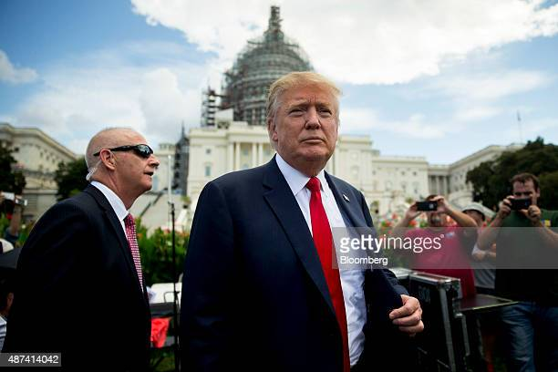 Donald Trump president and chief executive officer of Trump Organization Inc and 2016 Republican presidential candidate arrives to a Tea Party...