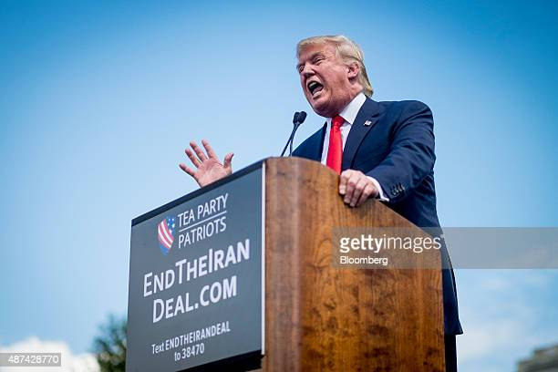 Donald Trump president and chief executive officer of Trump Organization Inc and 2016 Republican presidential candidate speaks during a Tea Party...