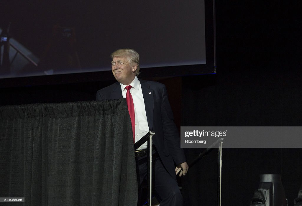 Donald Trump, presumptive Republican presidential nominee, arrives to speak during the Western Conservative Summit in Denver, Colorado, U.S., on Friday, July 1, 2016. Trump is looking to project party unity in the Hamptons next week, when he'll huddle with Republican National Committee Chairman Reince Priebus at a fundraiser featuring top donors to some of his former rivals. Photographer: Matthew Staver/Bloomberg via Getty Images