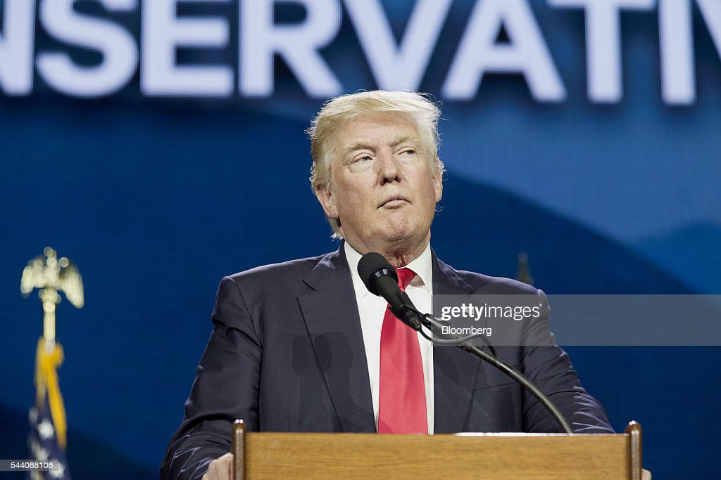 Donald Trump, presumptive Republican presidential nominee, pauses while speaking during the Western Conservative Summit in Denver, Colorado, U.S., on Friday, July 1, 2016. Trump is looking to project party unity in the Hamptons next week, when he'll huddle with Republican National Committee Chairman Reince Priebus at a fundraiser featuring top donors to some of his former rivals. Photographer: Matthew Staver/Bloomberg via Getty Images