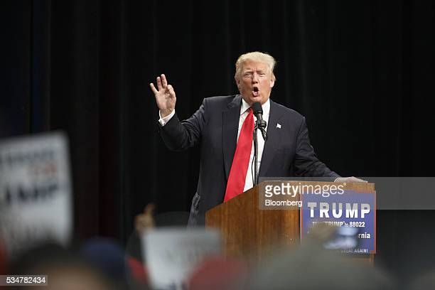 Donald Trump presumptive Republican presidential nominee speaks during a campaign event in San Diego California US on Friday May 27 2016 Trump said...