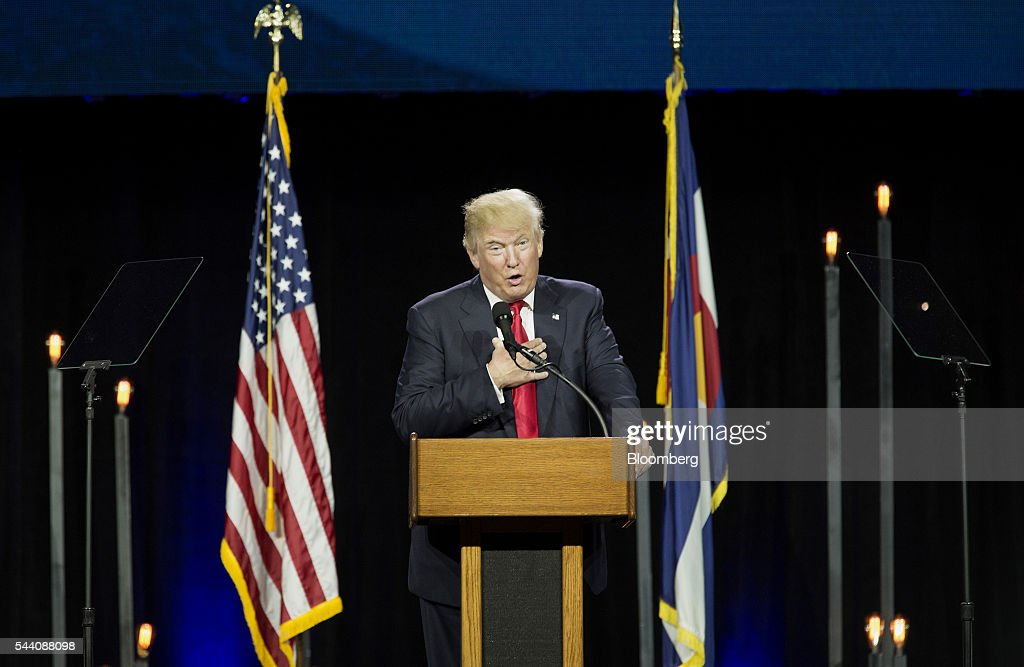 Donald Trump, presumptive Republican presidential nominee, speaks during the Western Conservative Summit in Denver, Colorado, U.S., on Friday, July 1, 2016. Trump is looking to project party unity in the Hamptons next week, when he'll huddle with Republican National Committee Chairman Reince Priebus at a fundraiser featuring top donors to some of his former rivals. Photographer: Matthew Staver/Bloomberg via Getty Images