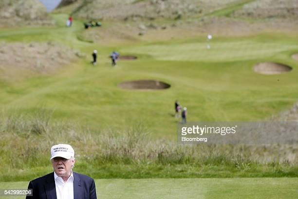 Donald Trump presumptive Republican presidential nominee speaks to members of the media at Trump International Golf Links in Aberdeen UK on Saturday...