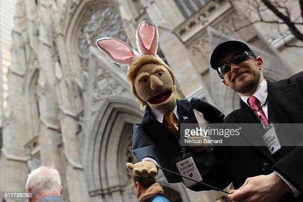 Donald Trump puppet with bunny ears at the 2016 New York City Easter Parade on March 27 2016 in New York City