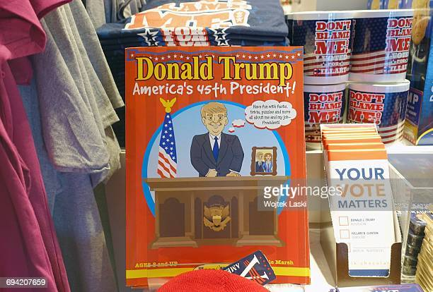 A Donald Trump puzzle book for children on sale in a gadget and souvenir shop in Los Angeles USA January 2017 Trump merchandise is heavily in demand...