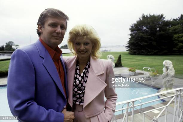 Donald Trump real estate mogul entrepreneur and billionare relaxes at his home with his wife Ivana Trump in August 1987 in Greenwich Connecticut