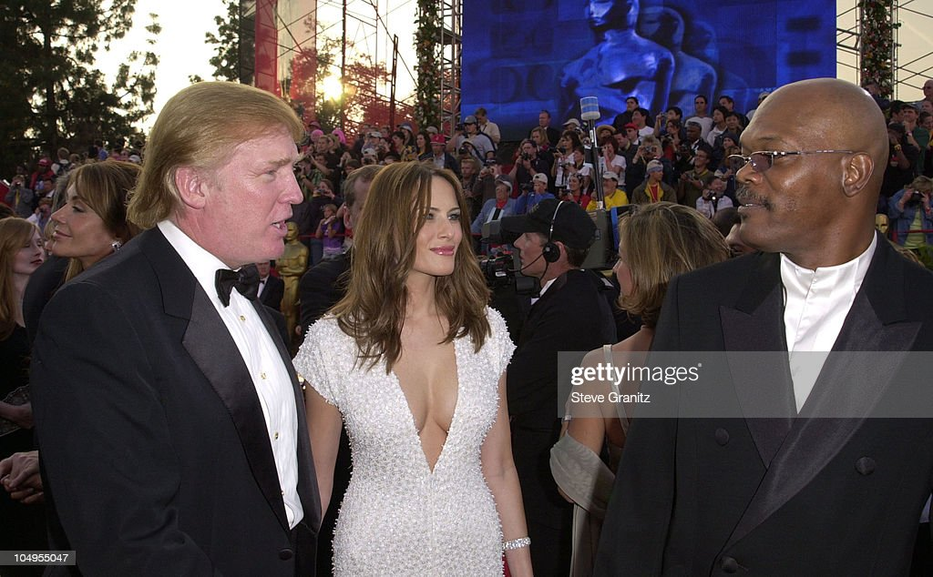 Donald Trump & Samuel L. Jackson during The 73rd Annual Academy Awards - Arrivals at Shrine Auditorium in Los Angeles, California, United States.