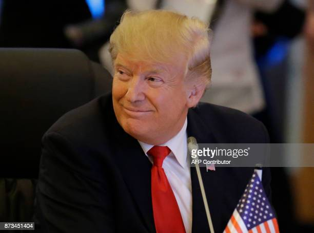 US Donald Trump smiles during the ASEANUS 40th Anniversary Commemorative Summit on the sideline of the 31st Association of Southeast Asian Nations...