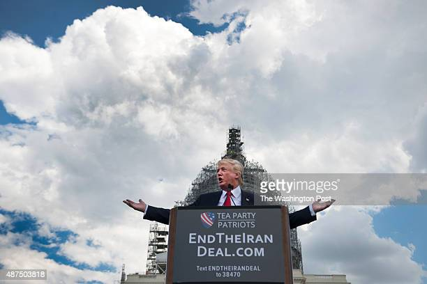 Donald Trump speaks at a the Stop The Iran Nuclear Deal protest in front of the US Capitol in Washington DC on September 9 2015 Notables at the...