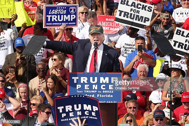Donald Trump speaks at a Trump rally at Sanford Orlando International Airport on Oct 25 2016 in Sanford Fla