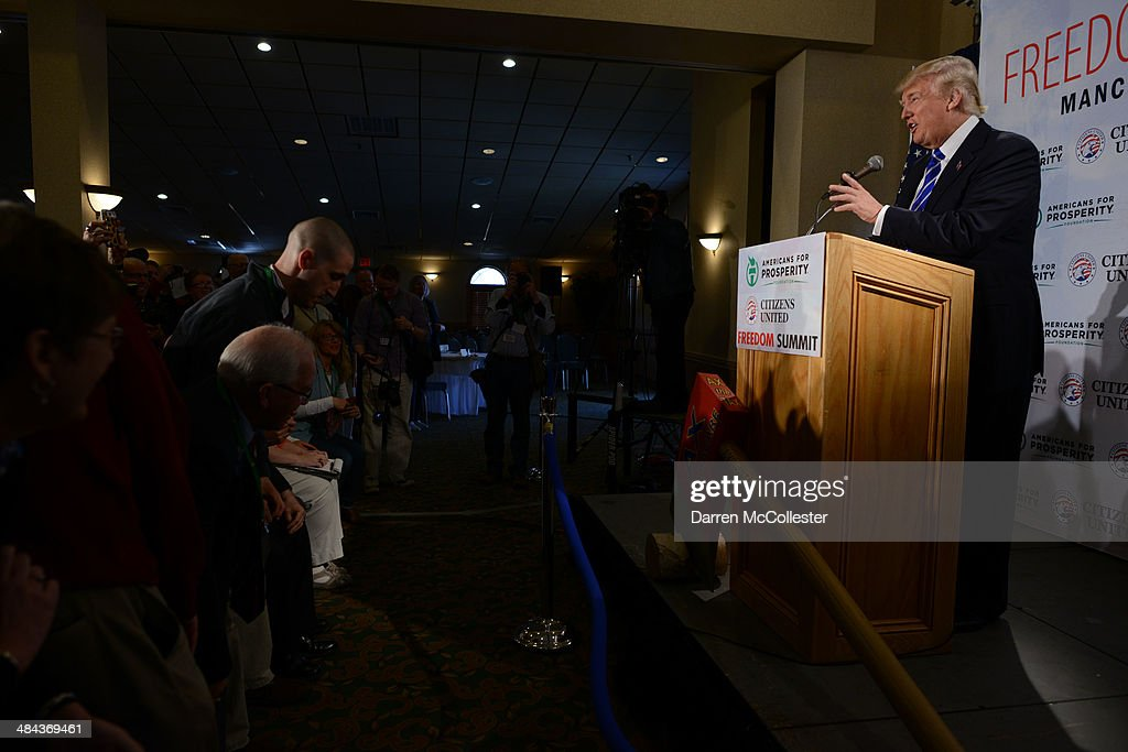 Donald Trump speaks at the Freedom Summit at The Executive Court Banquet Facility April 12, 2014 in Manchester, New Hampshire. The Freedom Summit held its inaugural event where national conservative leaders bring together grassroots activists on the eve of tax day. Photo by Darren McCollester/Getty Images)