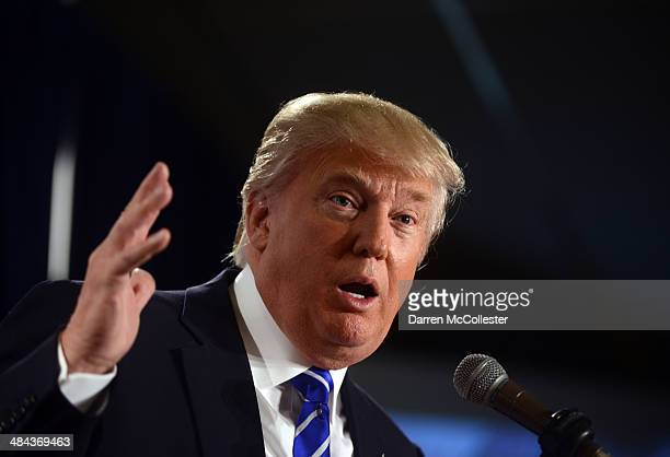 Donald Trump speaks at the Freedom Summit at The Executive Court Banquet Facility April 12 2014 in Manchester New Hampshire The Freedom Summit held...
