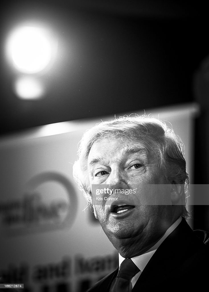 Donald Trump speaks during a forum on 'Washington real estate -- including plans to renovate the landmark Old Post Office on Pennsylvania Avenue and views on property values and trends in Washington.' at Washington Post on April 10, 2013 in Washington, DC.