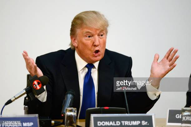 Donald Trump speaks during a press conference following his address to the Scottish Parliament on April 25 20012 in Edinburgh Scotland Trump spoke of...