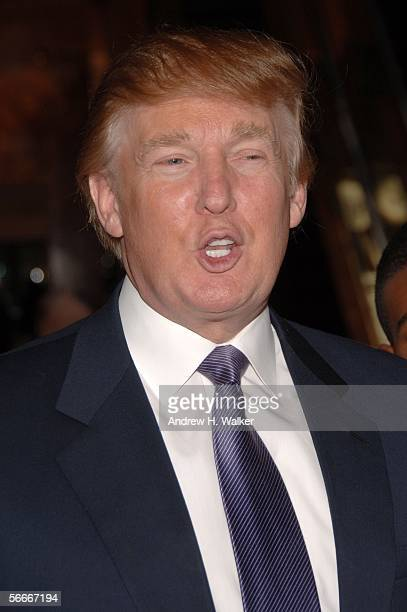 Donald Trump speaks to the crowd at the launch of Kelly Perdew's new book 'Take Command' on January 25 2006 in New York City