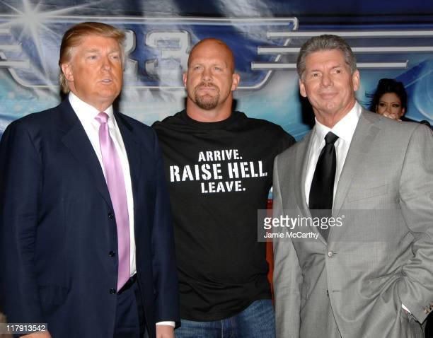 Donald Trump Stone Cold Steve Austin and WWE Chairman Vince McMahon