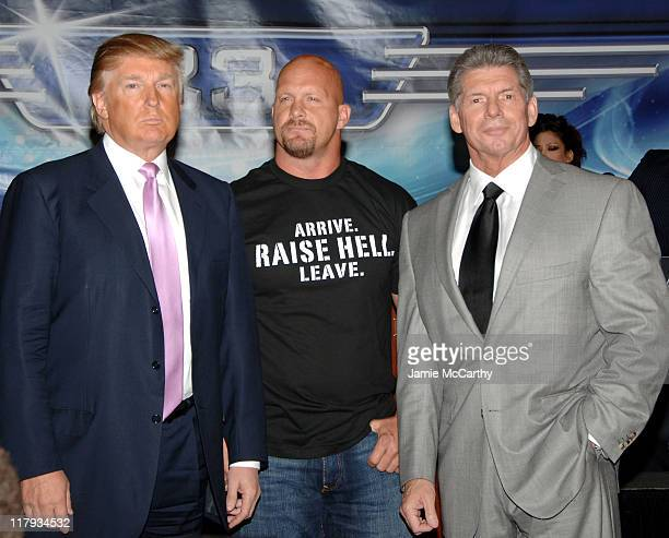 Donald Trump Stone Cold Steve Austin and WWE Chairman Vince McMahon