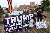 Donald Trump supporter attends a rally for Trump on the first day of the Republican National Convention on July 18 2016 in downtown Cleveland Ohio An...