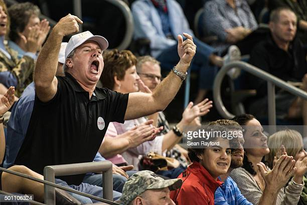 Donald Trump supporter shouts at the media during a town hall meeting December 12 2015 in Aiken South Carolina The South Carolina Republican primary...