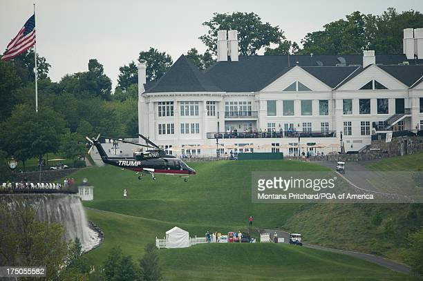 Donald Trump takes off in his helicopter during the first round of the 38th Junior PGA Championship at Trump International Golf Club Washington DC on...