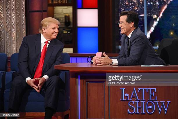 Donald Trump talks about his US Presidential campaign on The Late Show with Stephen Colbert Tuesday Sept 22 2015 on the CBS Television Network