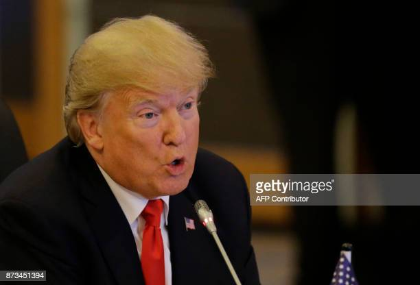 US Donald Trump talks during the ASEANUS 40th Anniversary Commemorative Summit on the sideline of the 31st Association of Southeast Asian Nations...