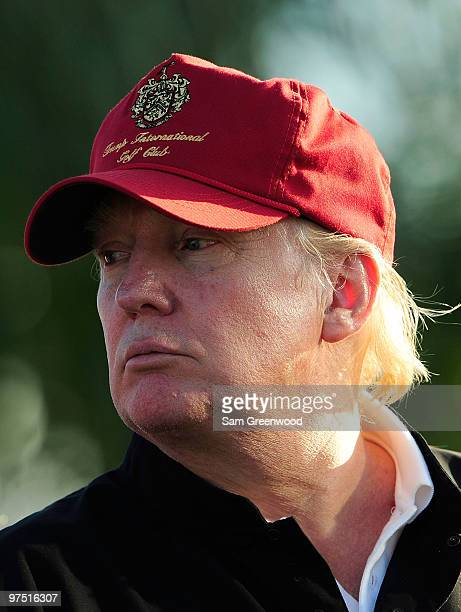 Donald Trump watches the action on the 17th hole during the final round of the Honda Classic at PGA National Resort And Spa on March 7 2010 in Palm...