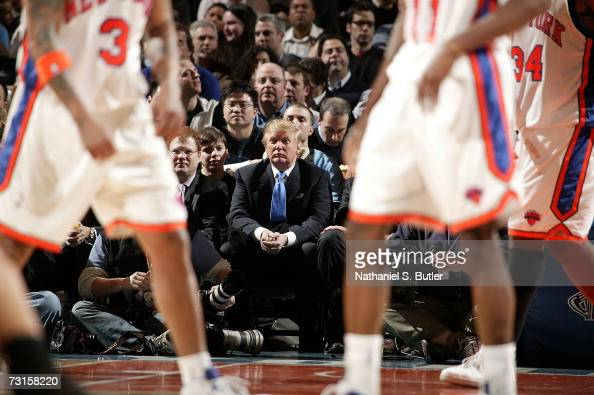Donald Trump watches the game featuring the New York Knicks against the Los Angeles Lakers on January 30 2007 at Madison Square Garden in New York...