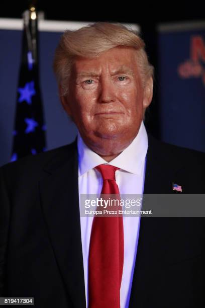 Donald Trump wax figure is displayed at the Wax Museum on July 20 2017 in Madrid Spain