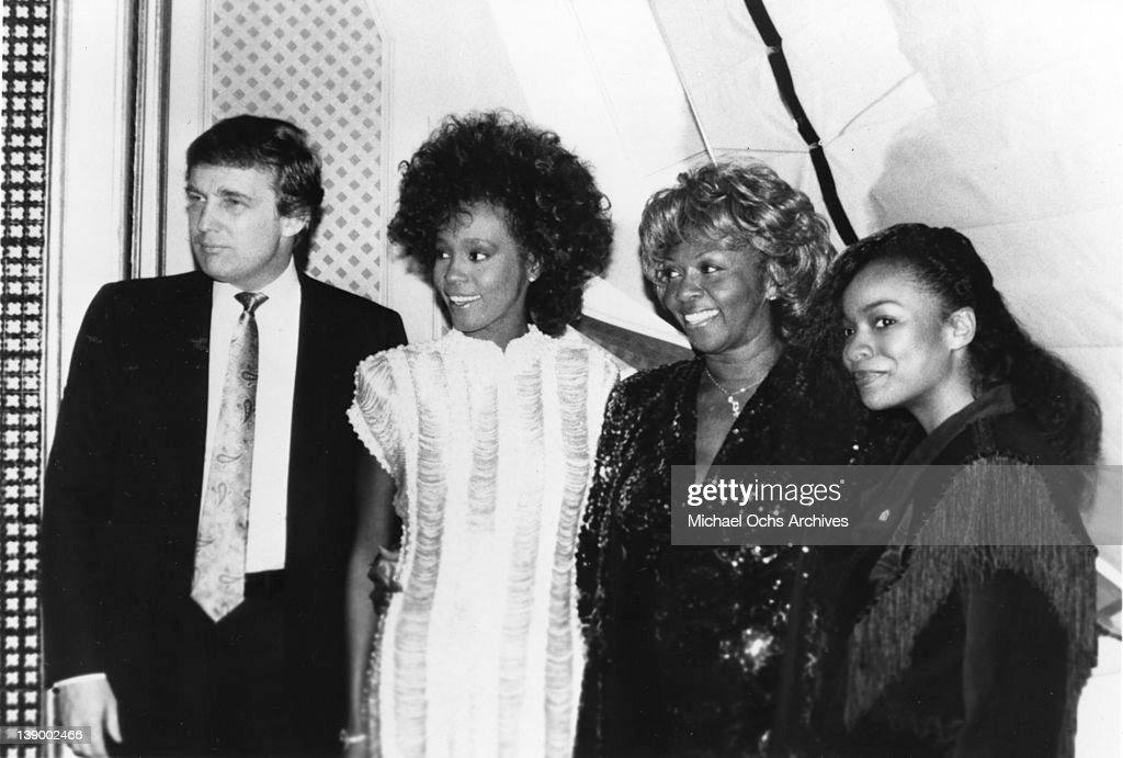 Donald Trump, Whitney Houston, Cissy Houston and Cherl 'Pepsii' Riley attend an event at Trump Plaza to celebrate Parents' Anonymous 1st Annual Award dinner on January 3, 1989 in Atlantic City, New Jersey.