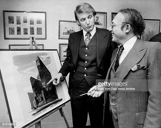 Donald Trump with Alfred Eisenpreis New York City Economic Development Administrator Sketch of new 1400 room Renovation project of Commodore Hotel