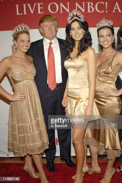 Donald Trump with Allie LaForce Miss Teen USA 2005 Natalie Glebova Miss Universe 2005 and Chelsea Cooley Miss USA 2005