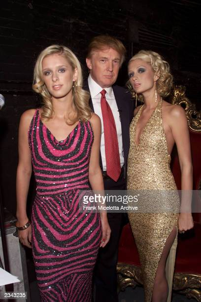 Donald Trump with Paris and Nikke Hilton during rehearsals for the 2001 VH1 Vogue Fashion Awards at Hammerstein Ballroom in New York City 10/18/01...