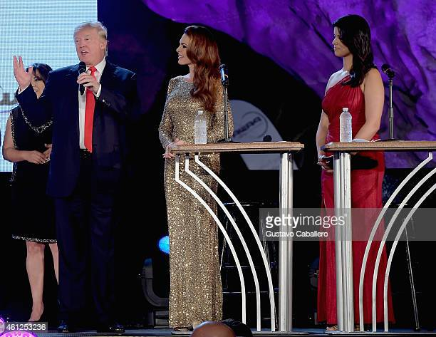 Donald TrumpBarbara Palacios and Roxanne Vargas attends Miss Universe Welcome Event and Reception at Downtown Doral Park on January 9 2015 in Doral...