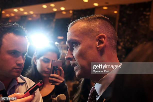 Donald Trump's campaign manager Corey Lewandowski speaks to the media at Trump Tower while reacting to news that Ted Cruz is pulling out of the...